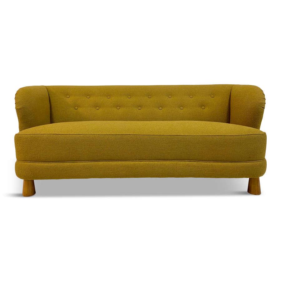 1940s Danish Three Seater Sofa in Mustard Bouclé