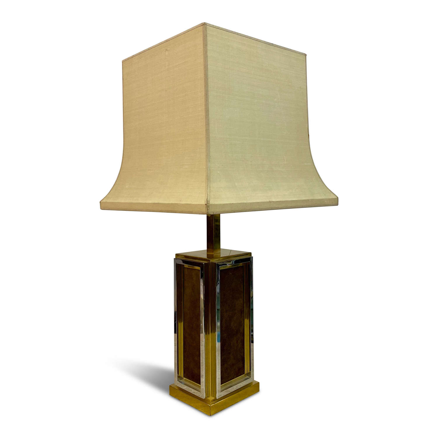 1970s French Brass, Chrome and Leather Table Lamp by Maison Jansen