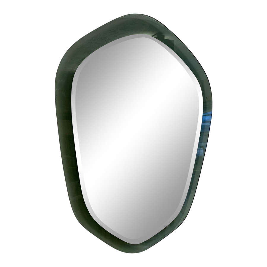 1960s Italian Mirror on Grey Glass Frame