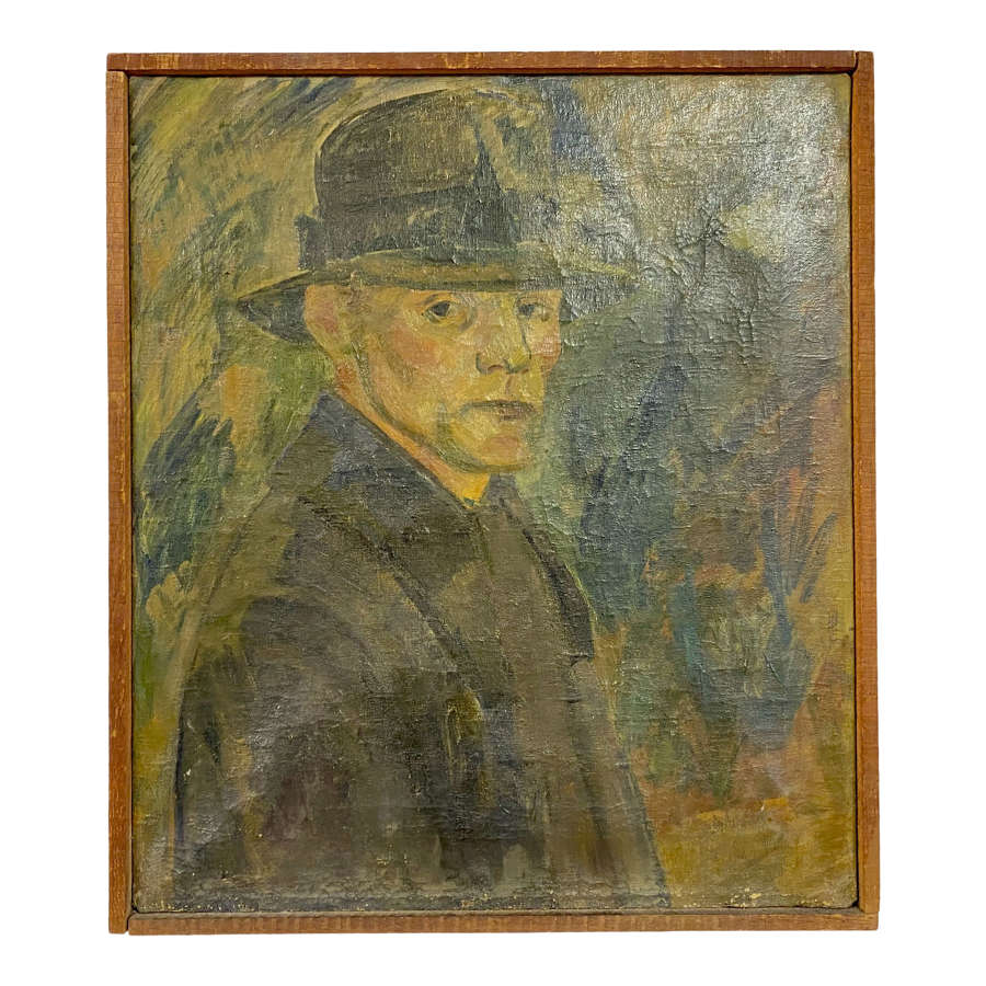1920s Oil Portrait Painting on Canvas of a Man