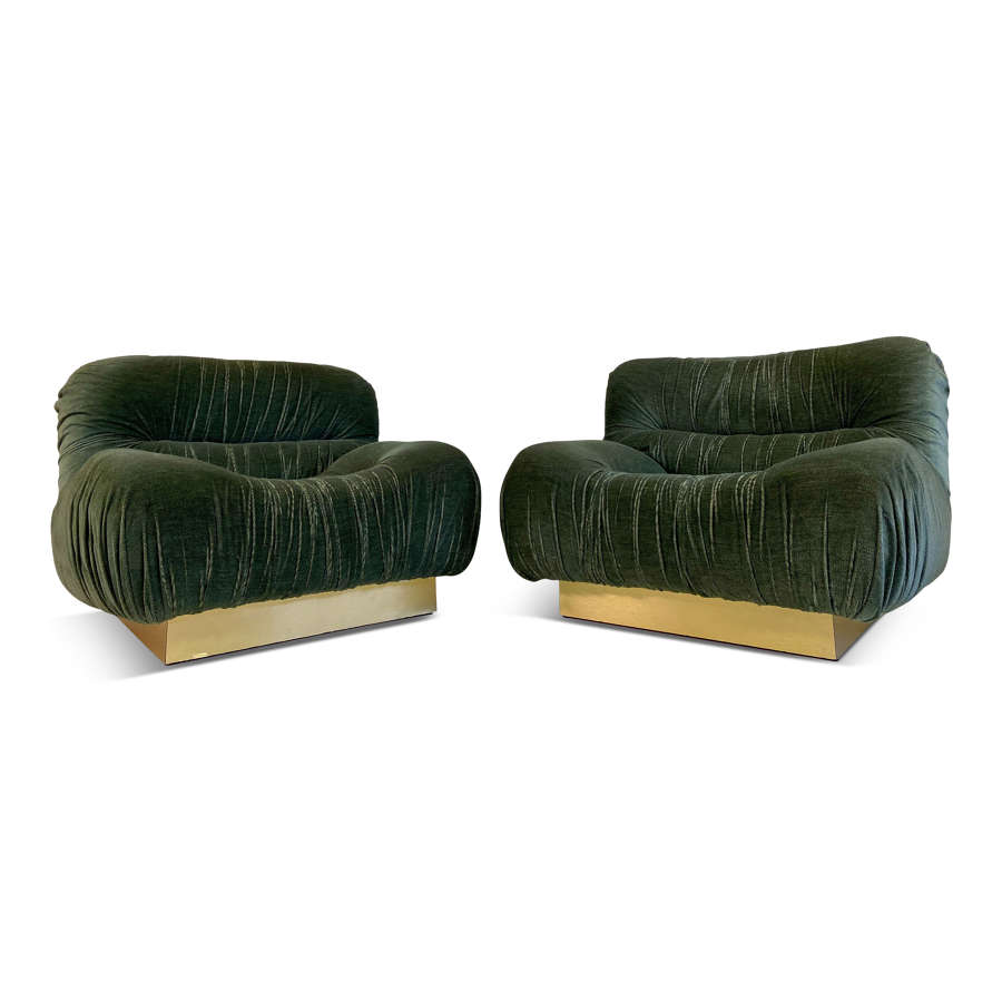 Pair of 1970s Green Velvet and Brass Lounge Chairs