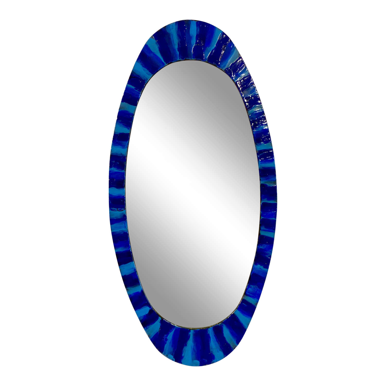 1950s Italian Blue Enamelled Copper Mirror by Siva Poggibonsi