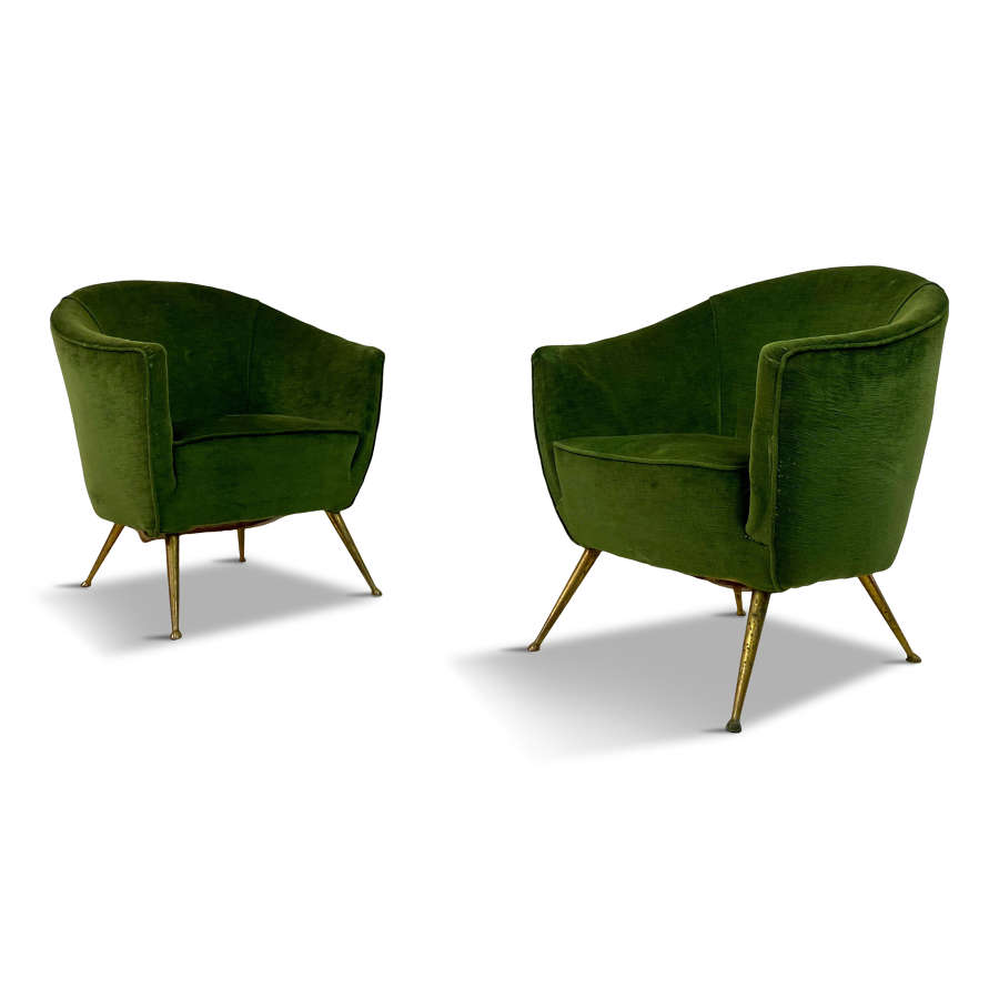 Pair of 1950s Italian Armchairs in Green