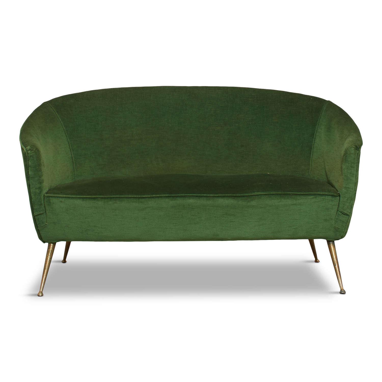 1950s Italian Two Seater Sofa in Green