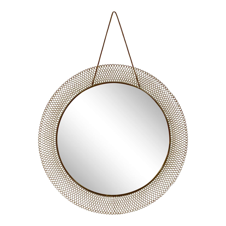 1950s Italian Circular Mesh Mirror with Brass Banding