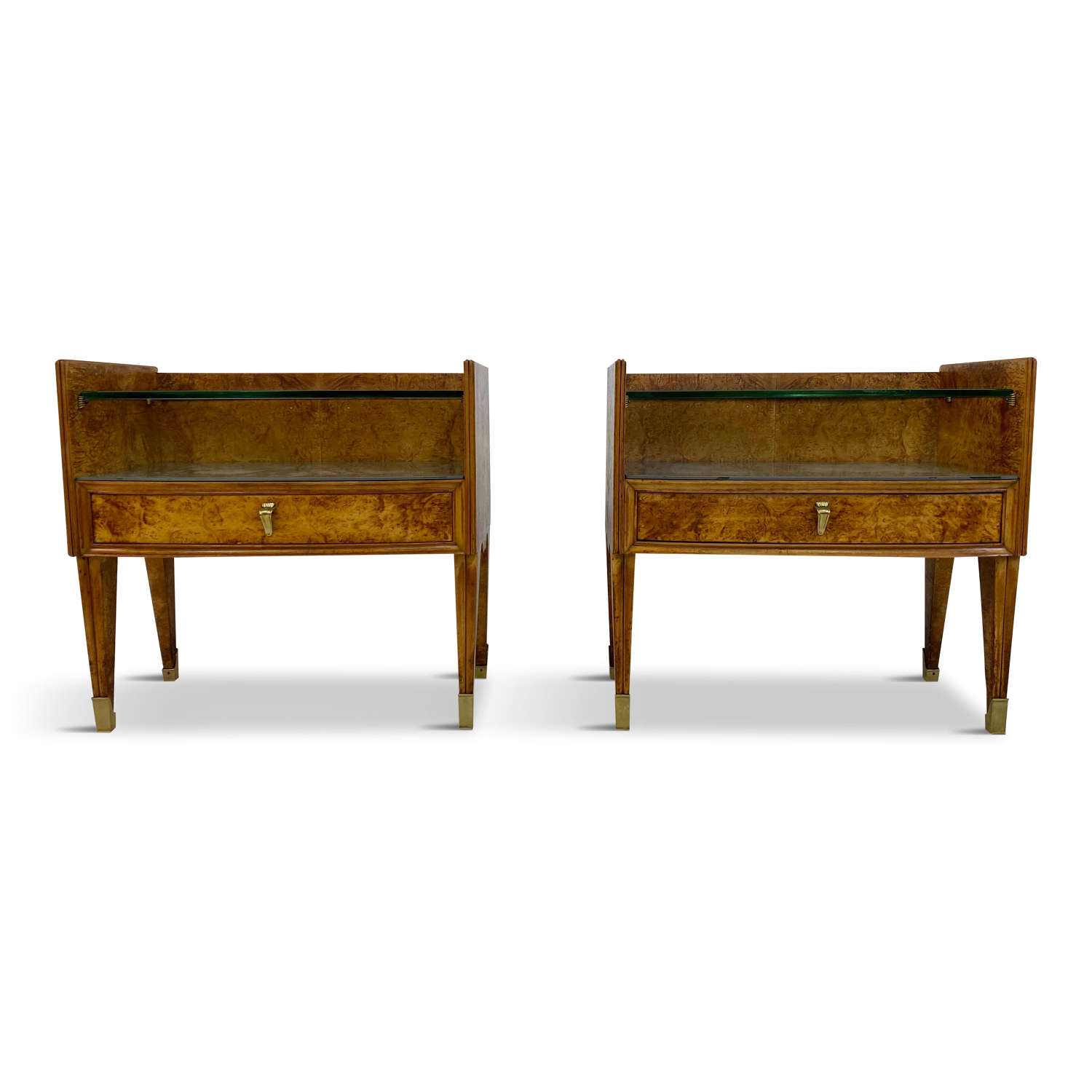 Pair of 1950s Italian Bedside Tables in Burl Wood