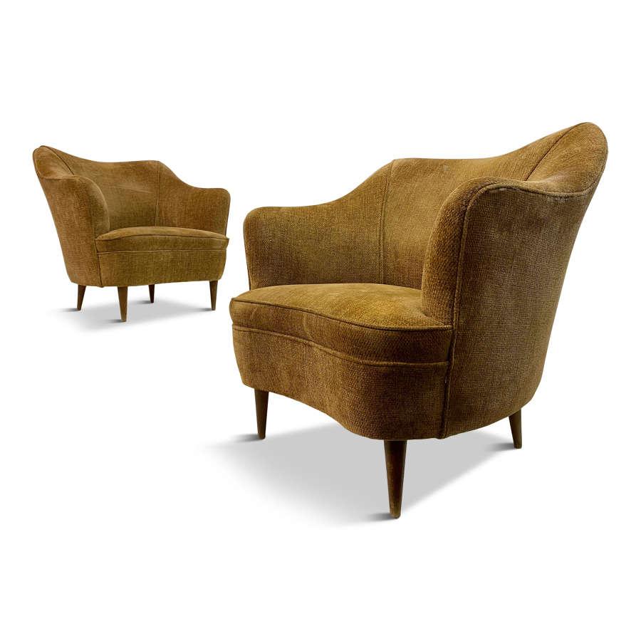 Pair of 1950s Italian Armchairs by Casa And Giardino