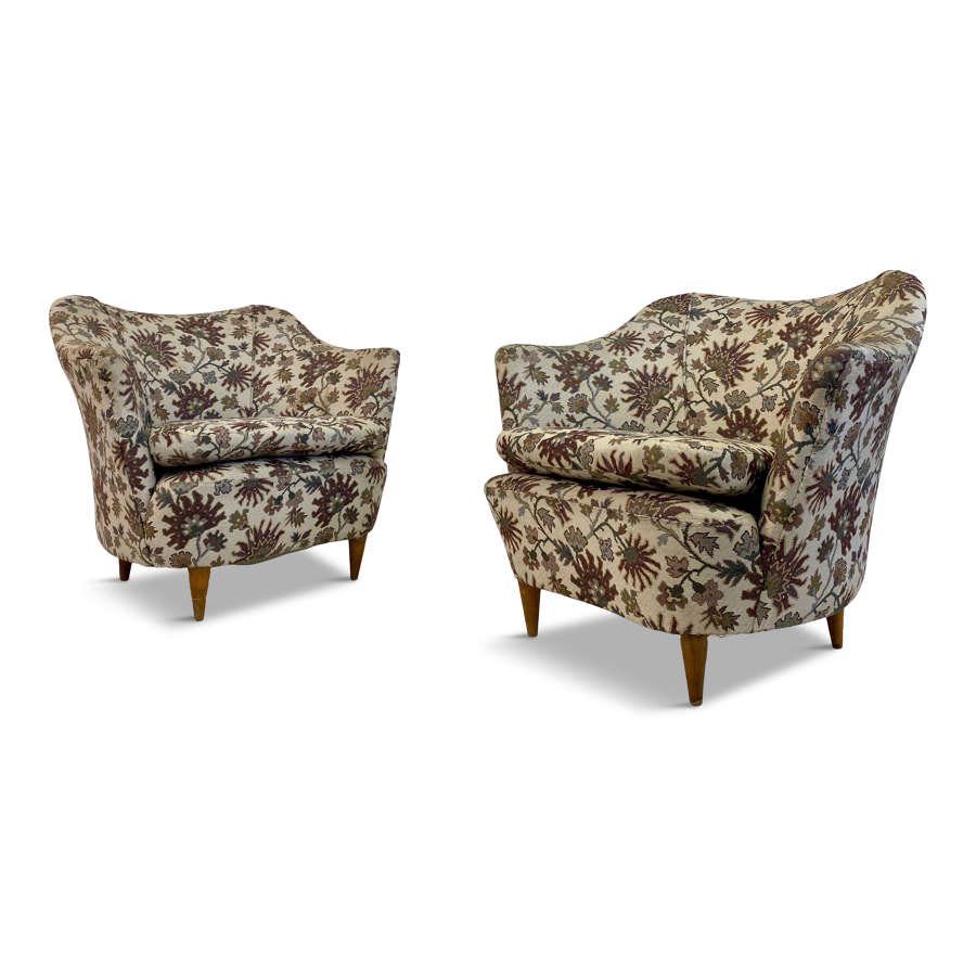 Pair of 1950s Italian Club Armchairs
