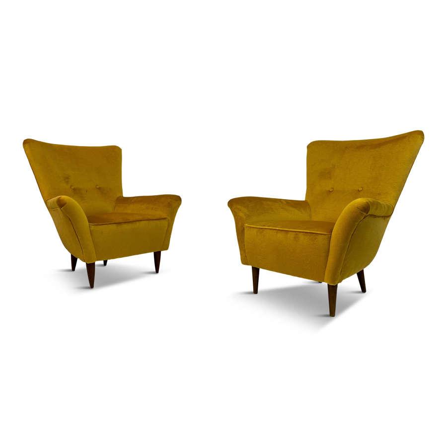 Pair of Small 1950s Italian Armchairs in Mustard Velvet