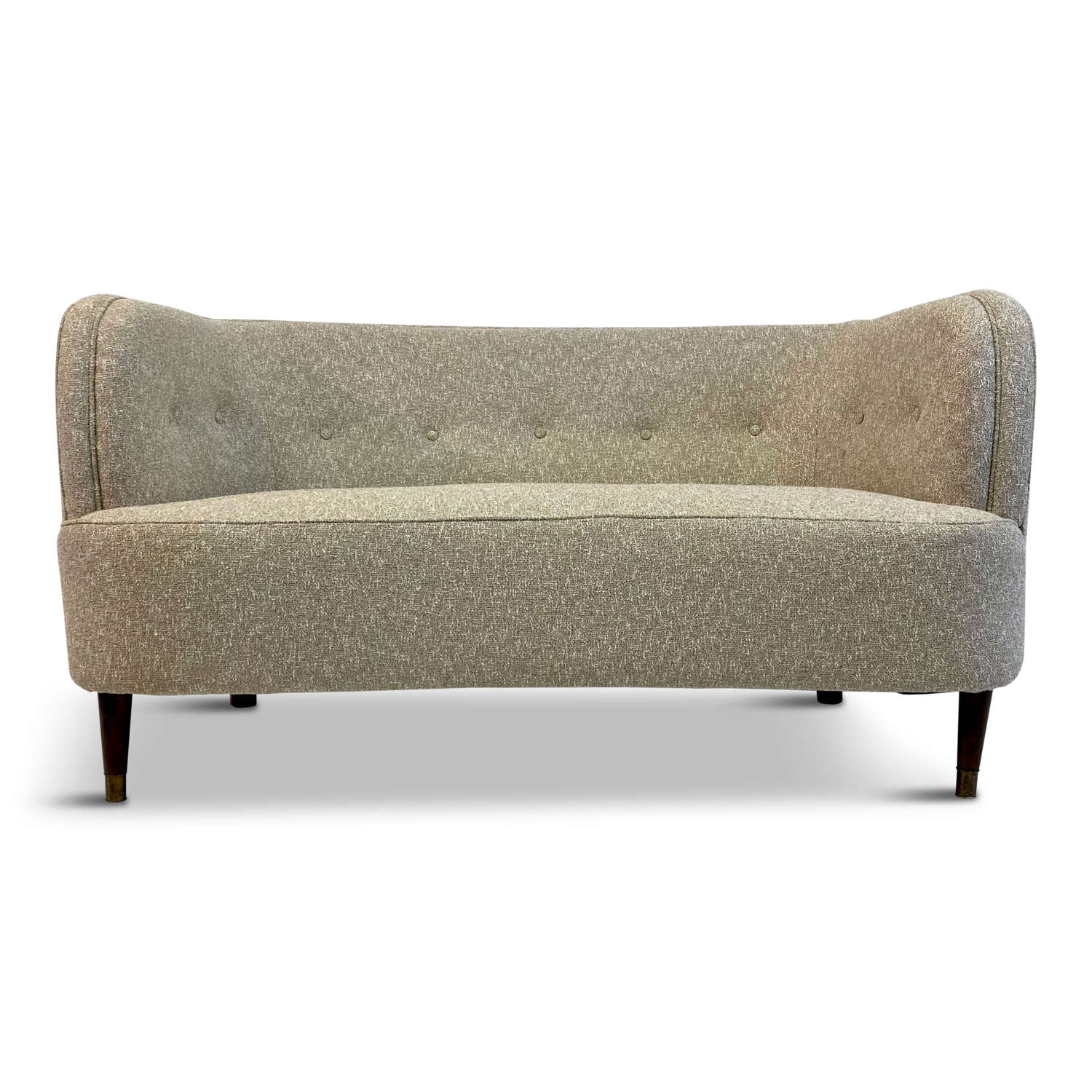 Small Curved 1940s Danish Two Seater Sofa in Lelièvre Fabric