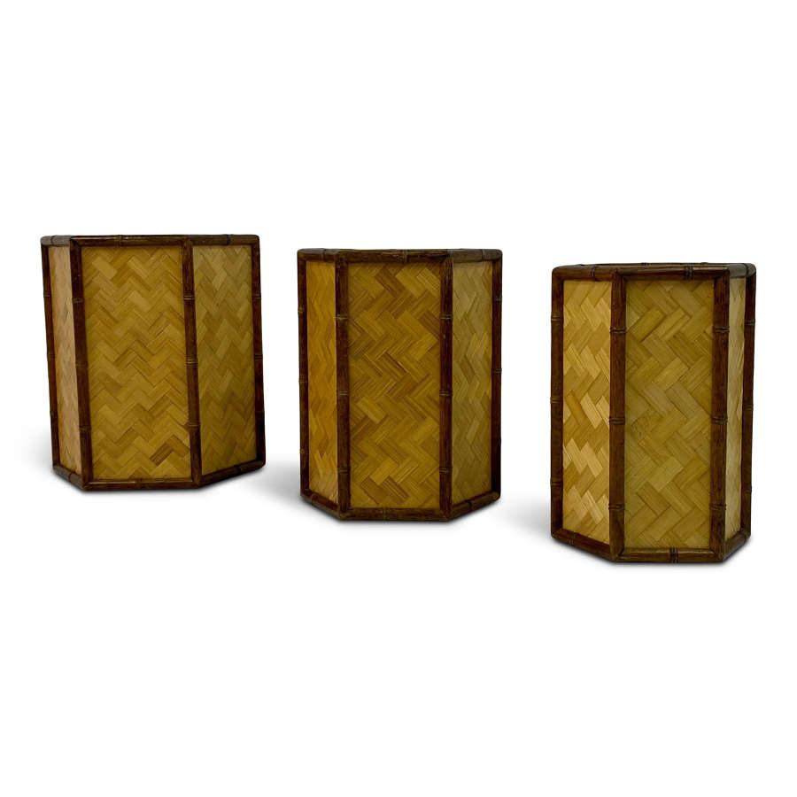 Set of Three Graduated Rattan and Bamboo Planters or Baskets
