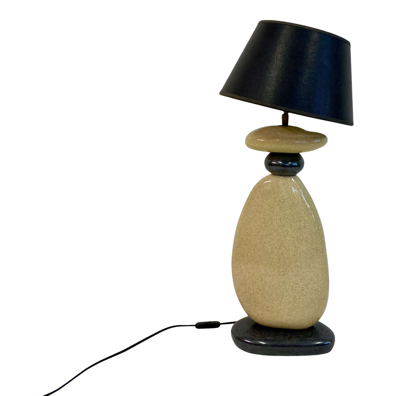 Large 1980s French Ceramic Pebble Table Lamp from Francois Chatain