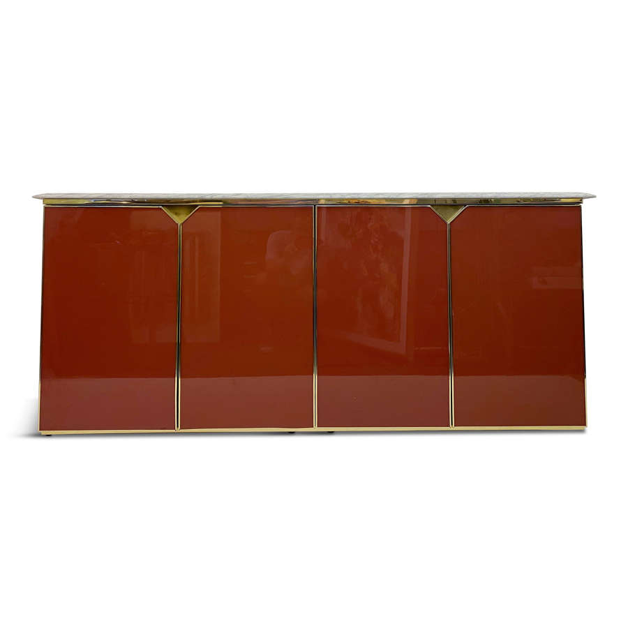1970s Red Lacquered Sideboard with Marble Top
