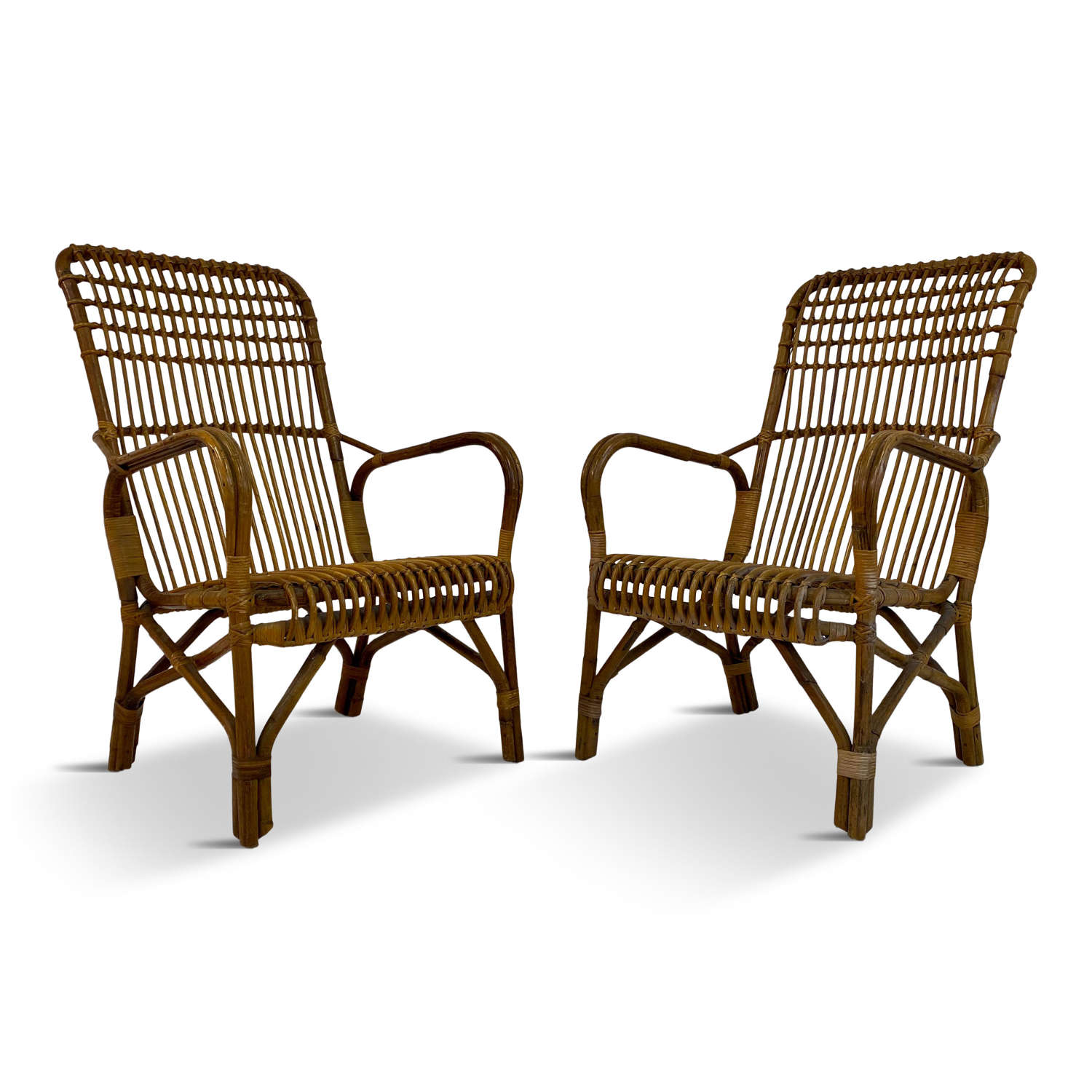 Pair of 1950s Italian Bamboo and Rattan Armchairs