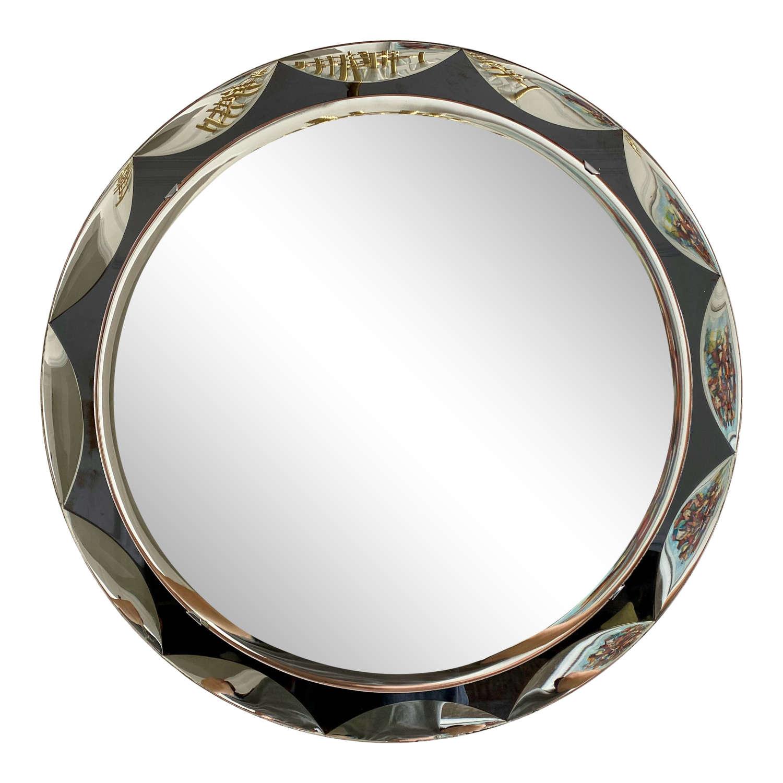 1960s Italian Circular Mirror with Grey Scalloped Pattern