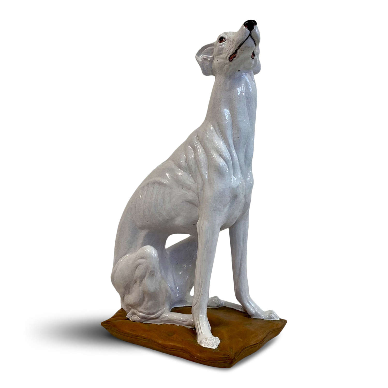 Life size Italian Glazed Terracotta Greyhound Dog