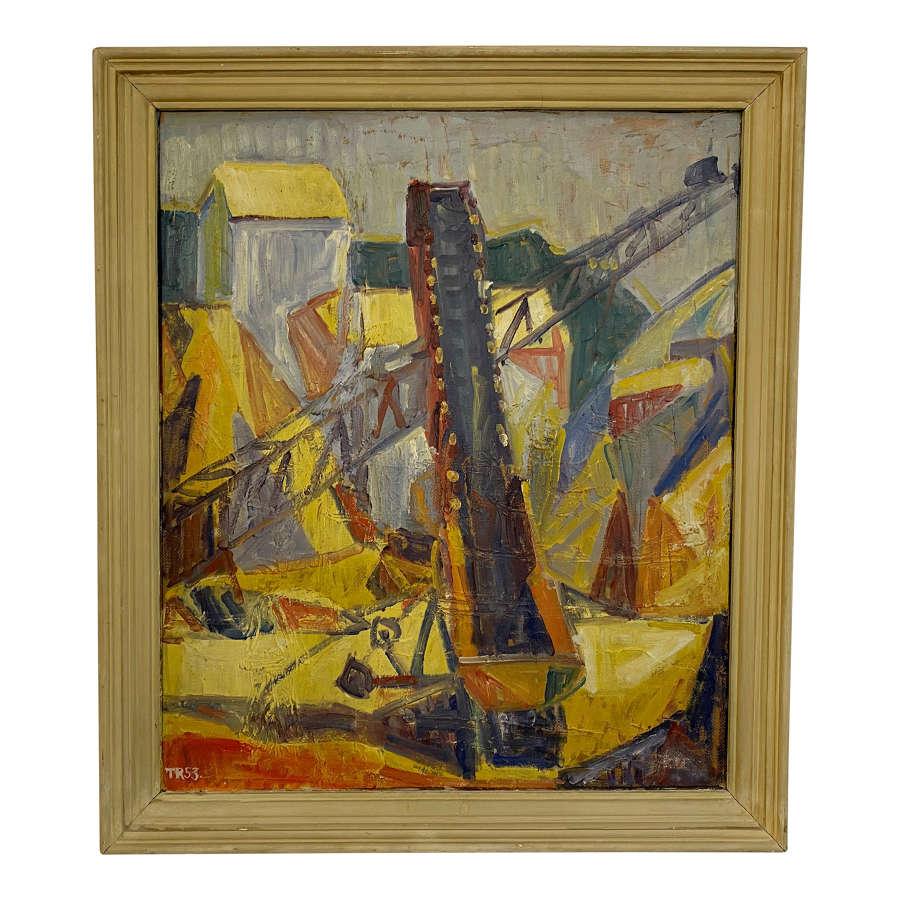 Mid Century 1950s Danish Oil Painting