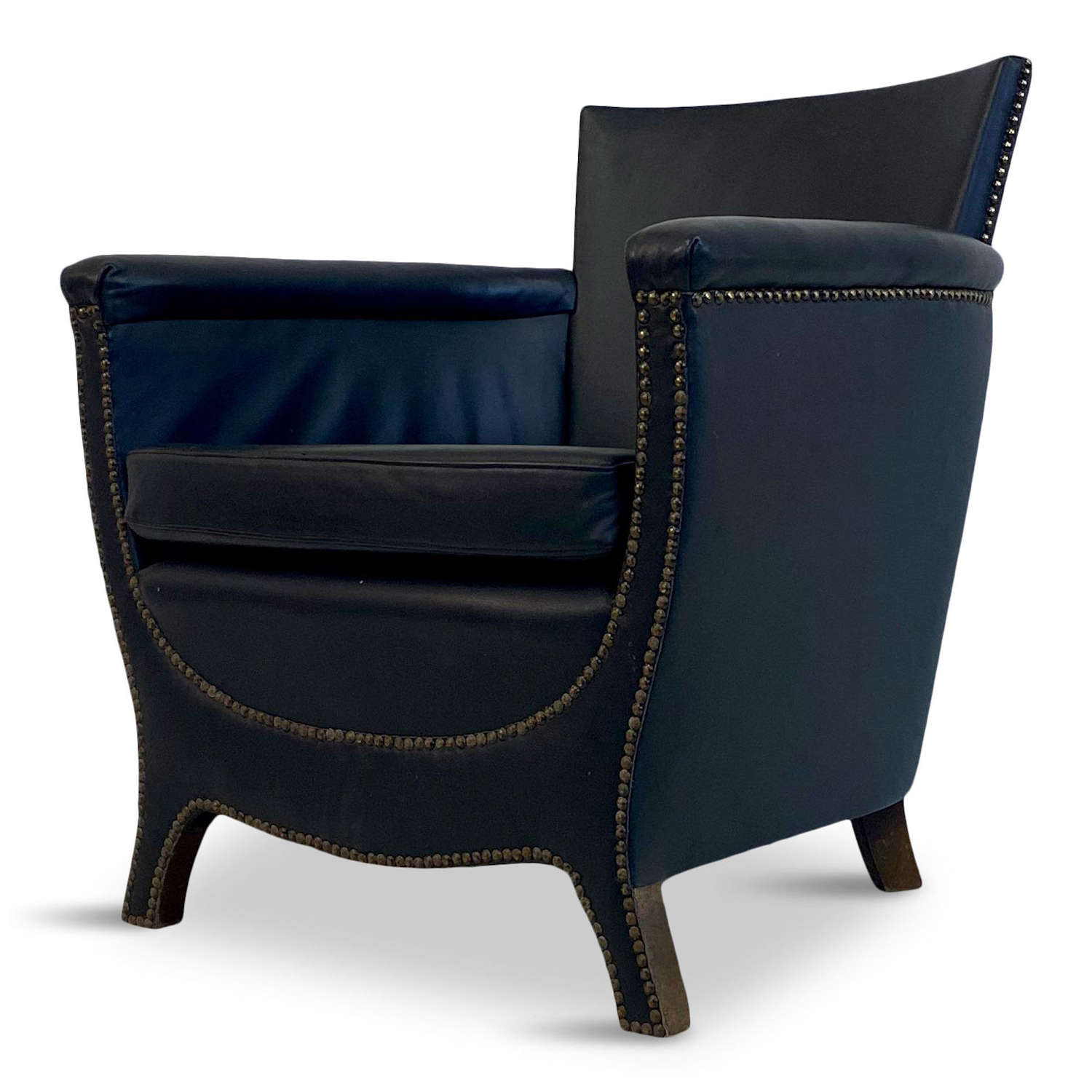 1930s Blue Leather Swedish Armchair by Otto Schulz