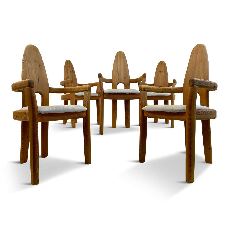 Set of Five Solid Pine Swedish Dining Chairs