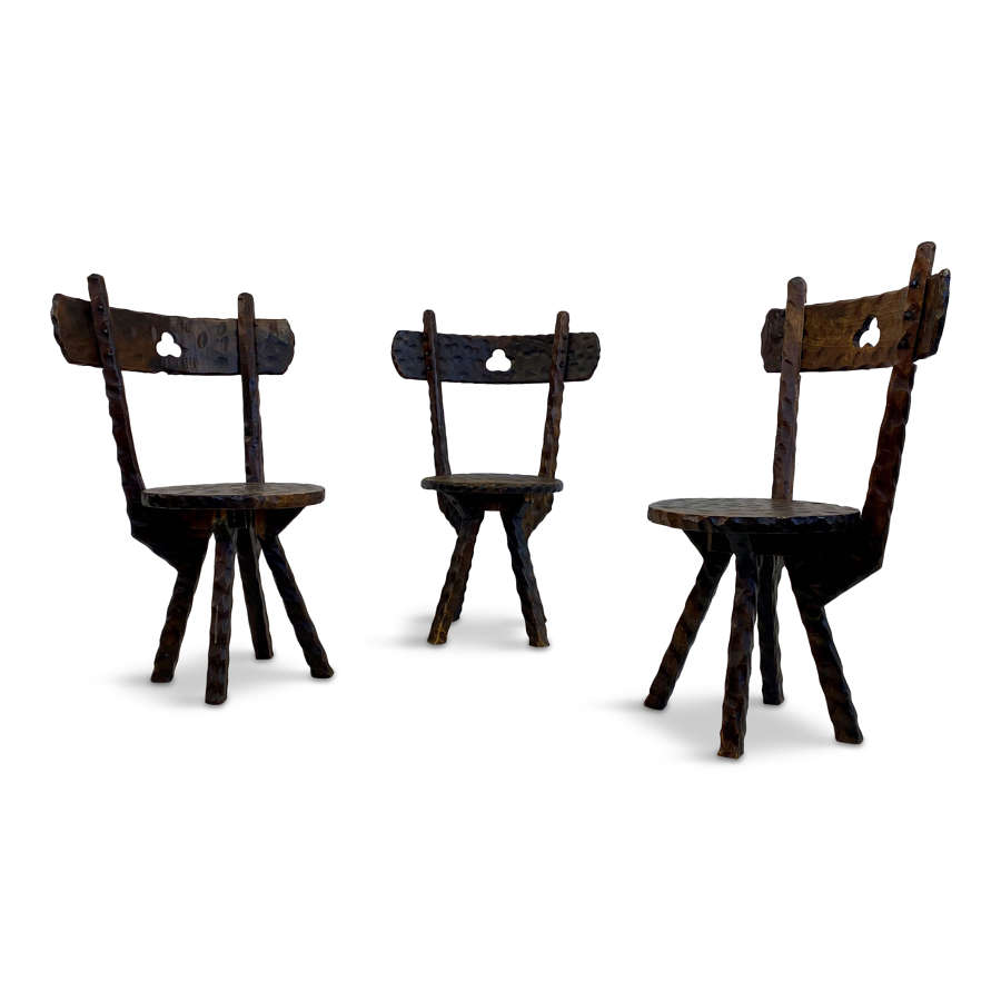 Set of Three Early 20th Century Primitive Folk Chairs