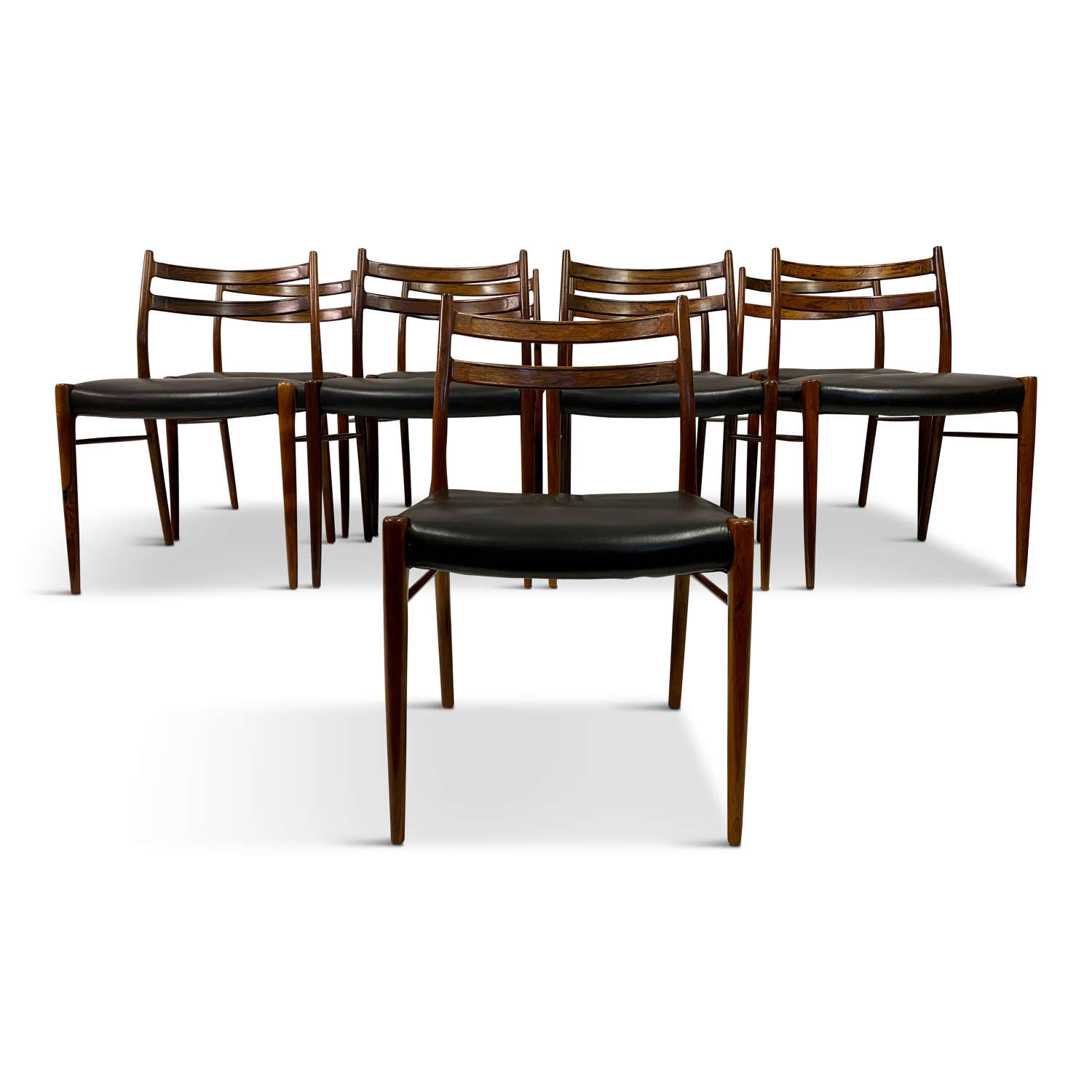 Set of Nine Danish Rosewood Dining chairs by Glyngore Stolefabrik