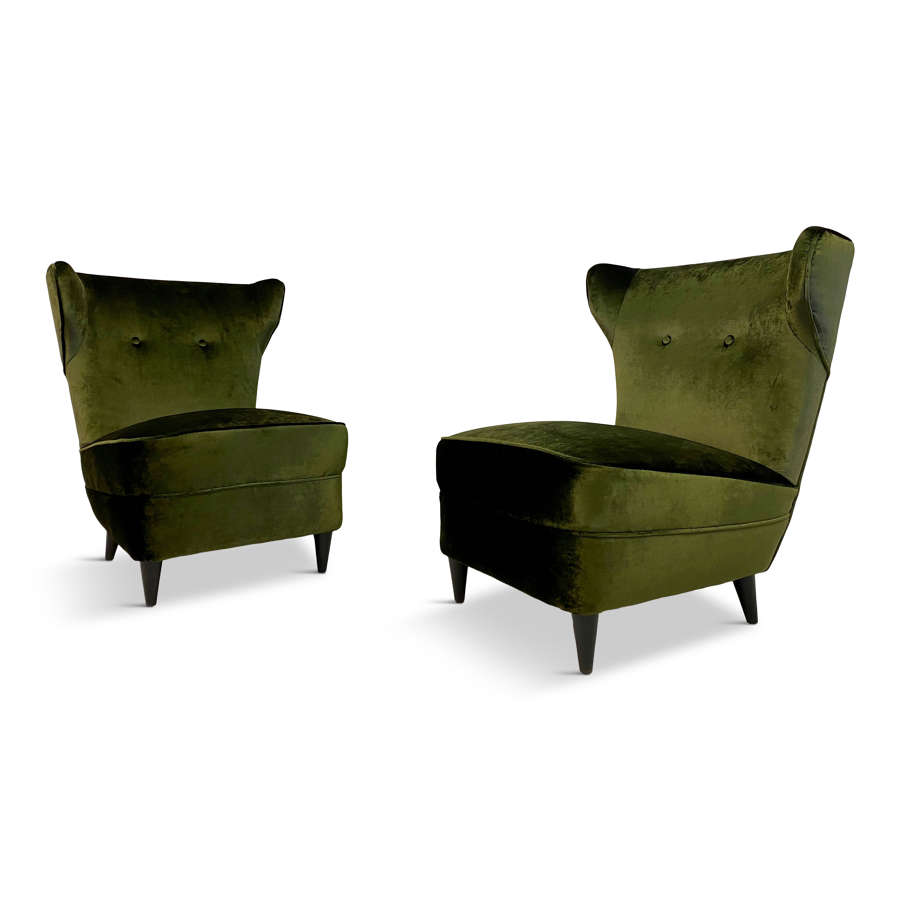 Pair of 1950s Italian Green Velvet Slipper Chairs