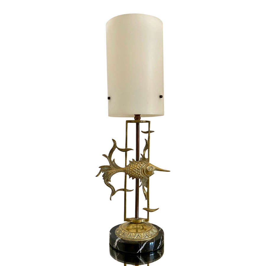 1950s Brass Fish with Marble Base Table Lamp