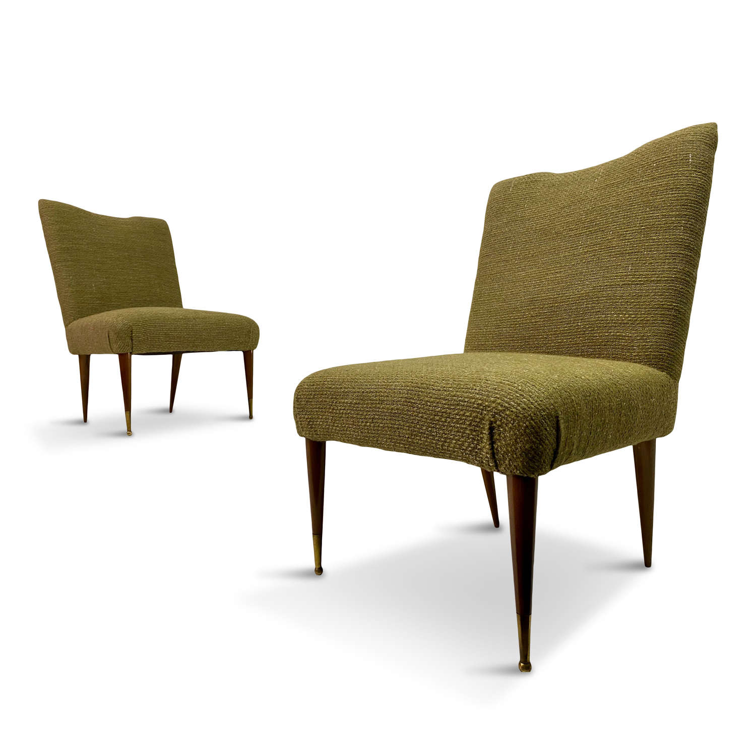 Pair of 1950s Italian Slipper Chairs in Green Wool and Linen