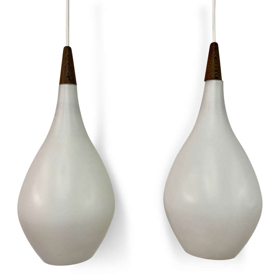 Pair of 1960s Danish Opaline Glass Teardrop Shaped Pendants