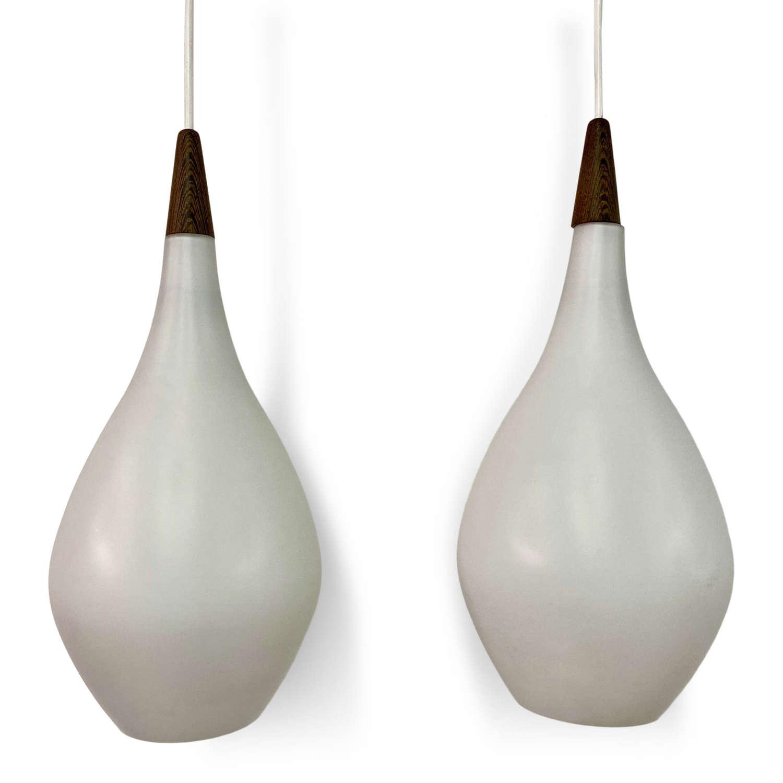 Pair of 1960s Danish Opaline Glass Teardrop Shaped Pendants