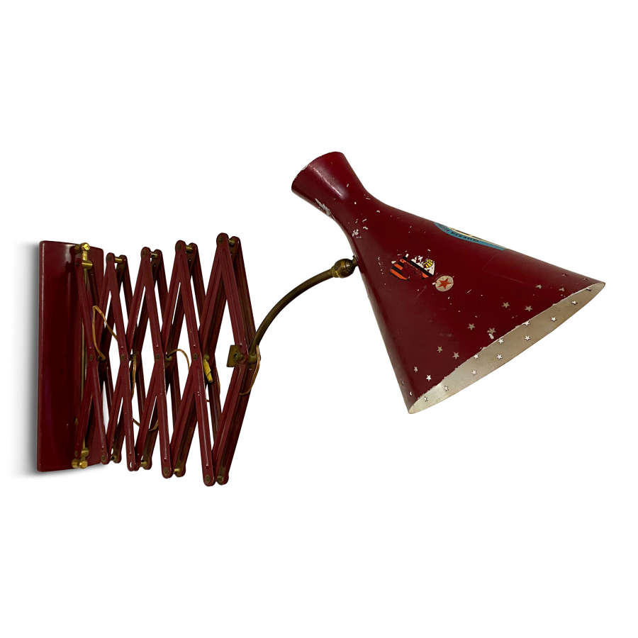 1950s Italian Industrial Scissor Concertina Lamp in Red