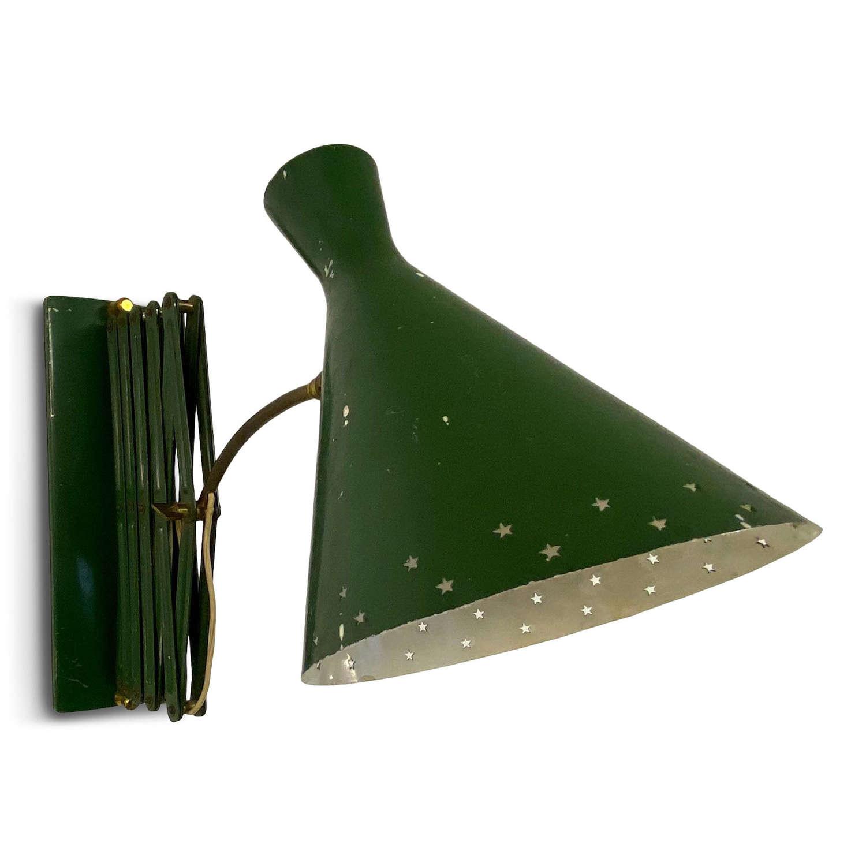 1950s Italian Industrial Scissor Concertina Lamp in Green