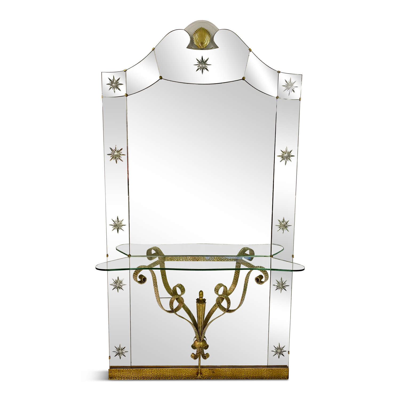 Large 1960s Italian Mirror Console By Pierluigi Colli for Crystal Art