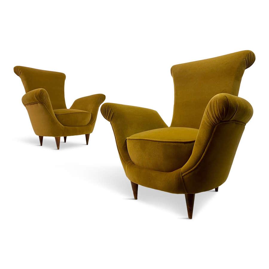 Pair of 1950s Italian Armchairs in Mustard Velvet