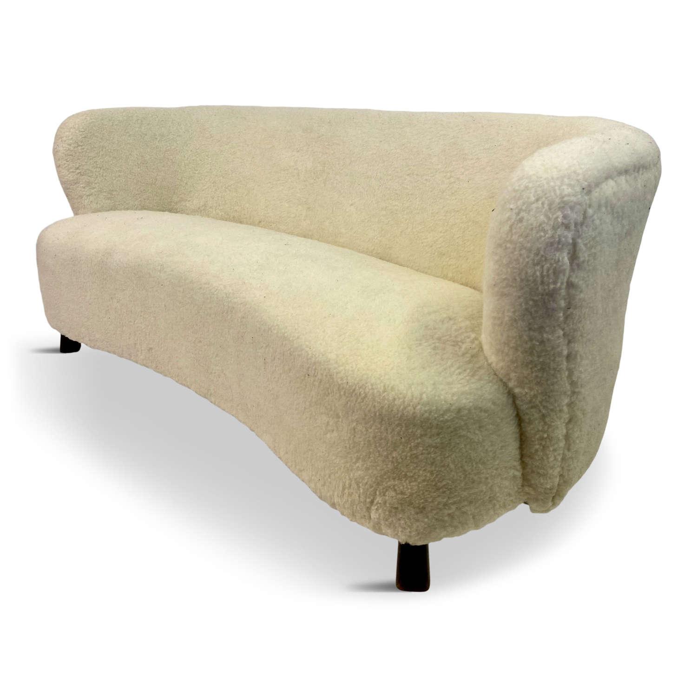 1940s Curved Danish Sofa in Sheepskin