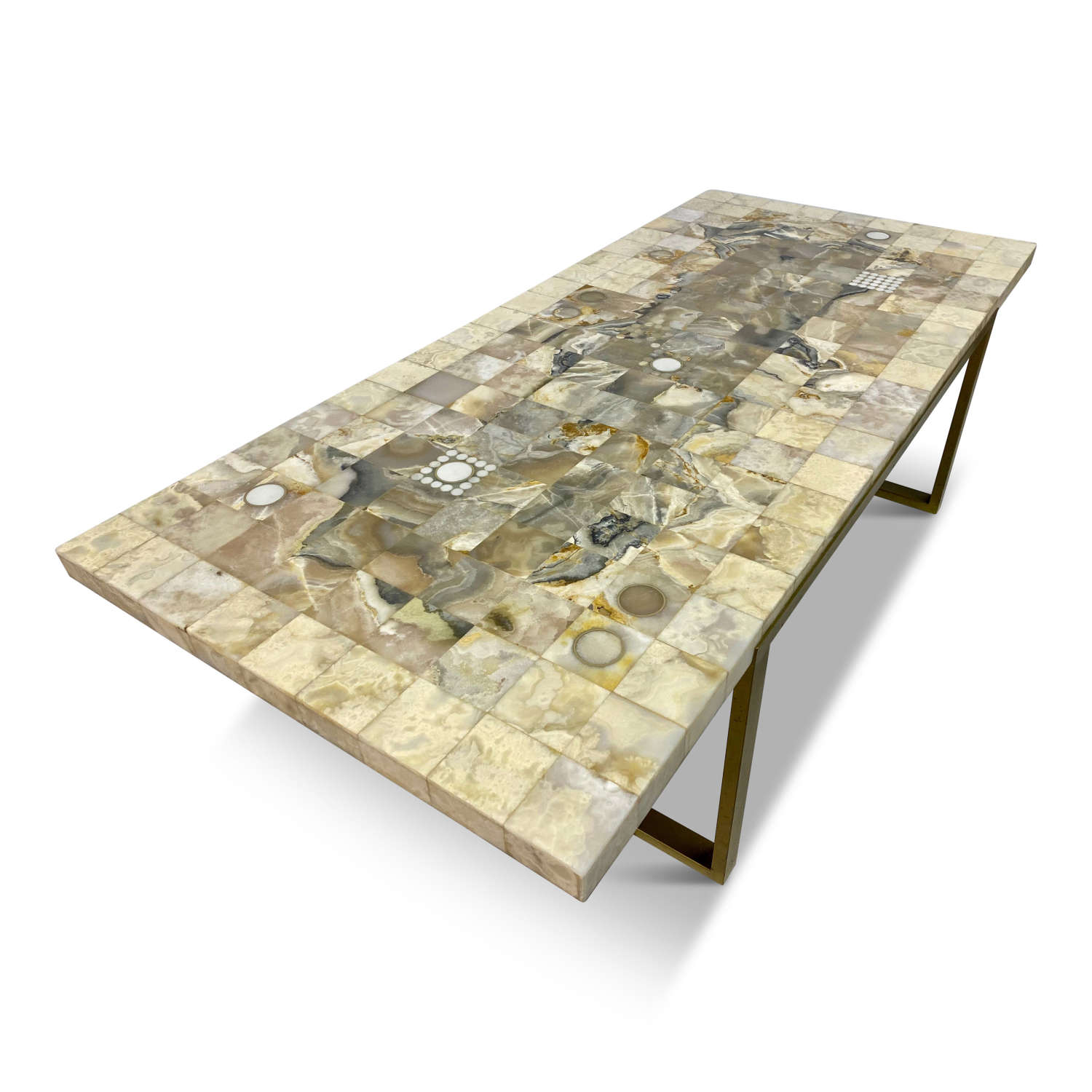 1970s French Mosaic Marble and Onyx Coffee Table