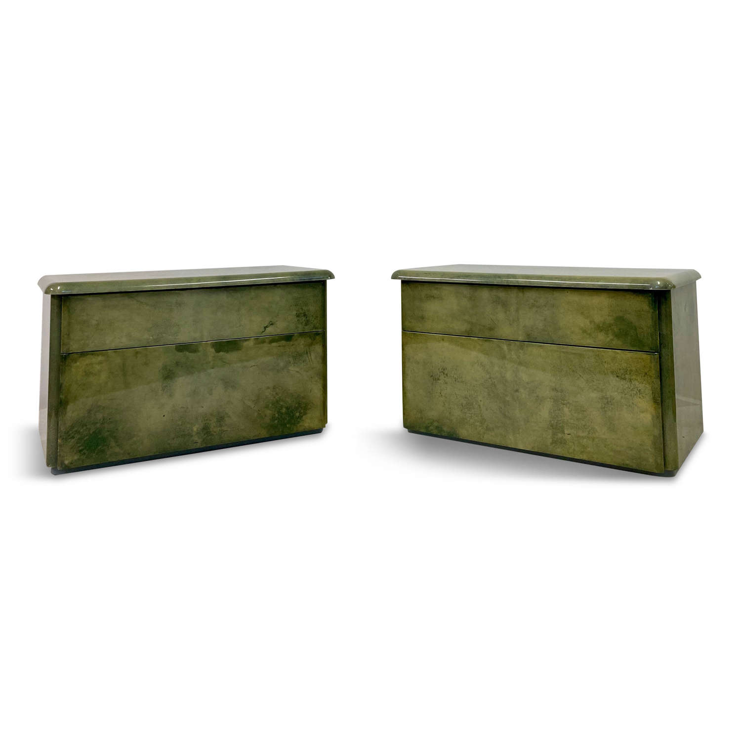 Pair of 1980s Lacquered Parchment Bedside Tables