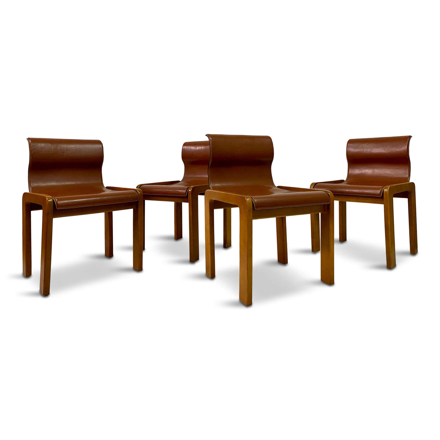 Four 1970s Italian Leather Dining Chairs Attributed to Tobia Scarpa