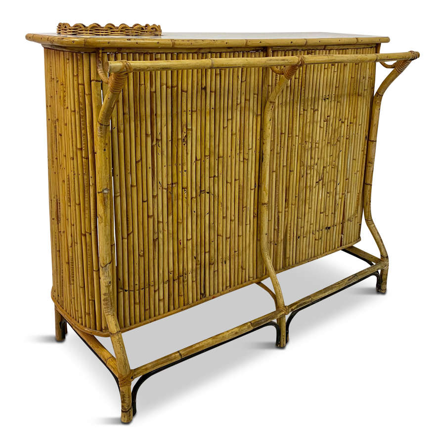 1950s Italian Bamboo Drinks Bar by Bonacina