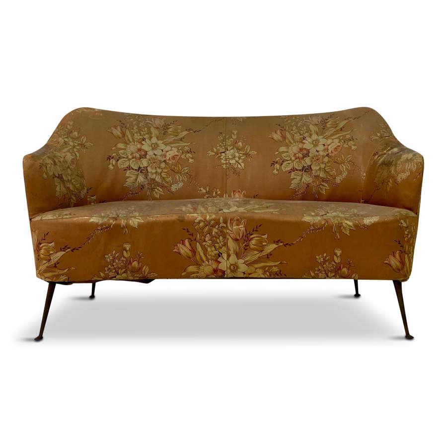 1950s Italian Sofa on Brass Legs