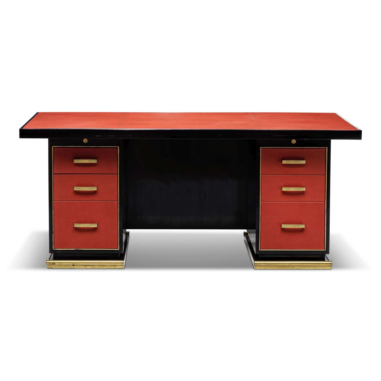 1950s Leather and Brass Desk by Paul Dupré-Lafon