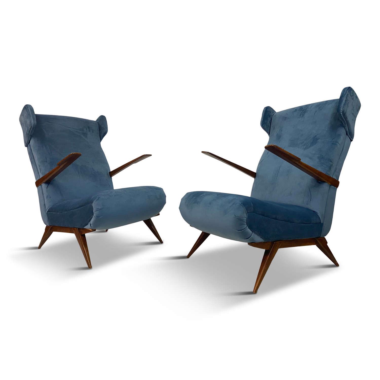 Pair of 1950s Italian Armchairs in Blue Velvet