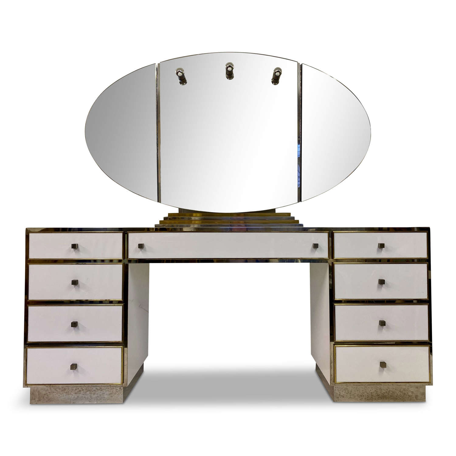 White Lucite, Brass and Chrome Dressing Table by Michel Pigneres