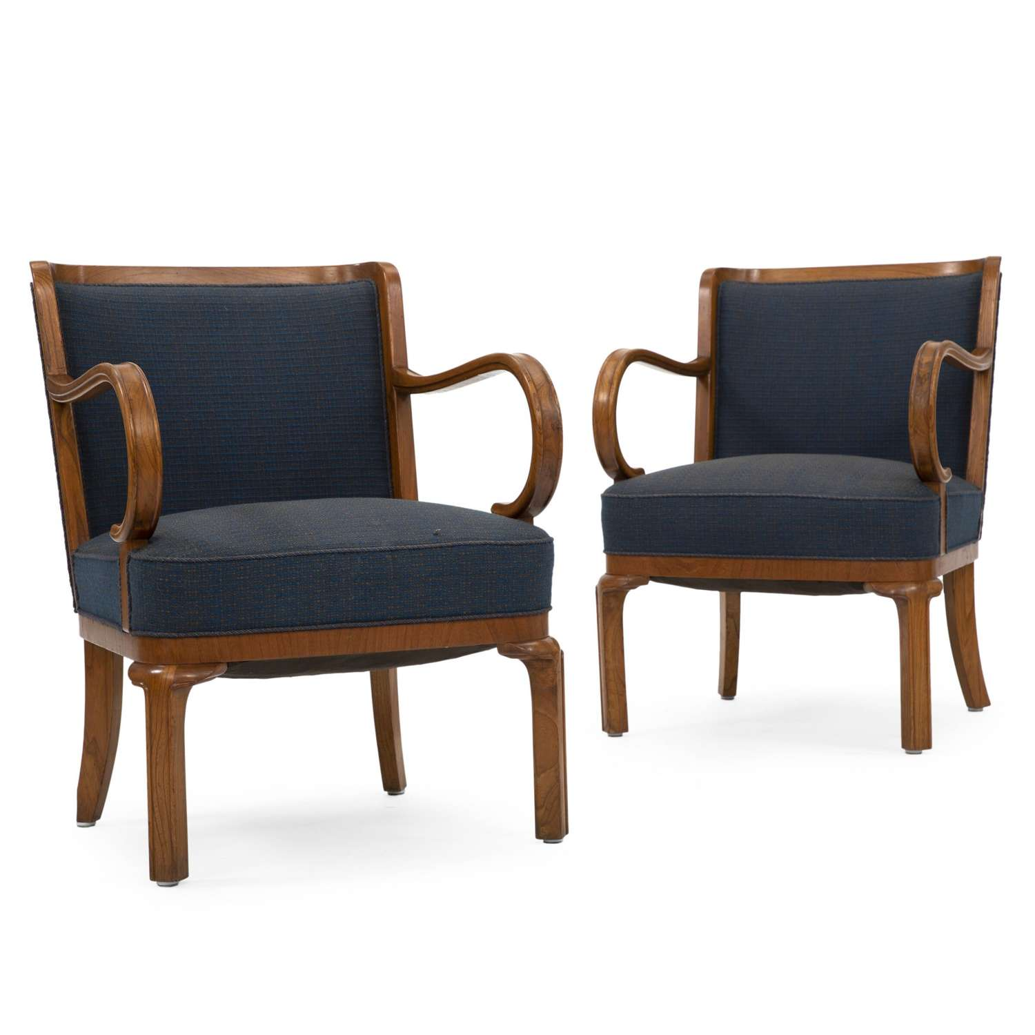 Pair of 1930s Danish Elm Armchairs by Lysberg and Hansen