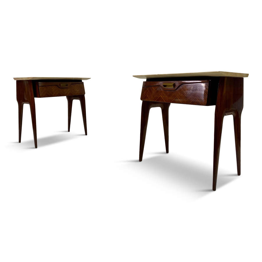 Pair of 1950s Italian Rosewood and Pink Marble Bedside Tables
