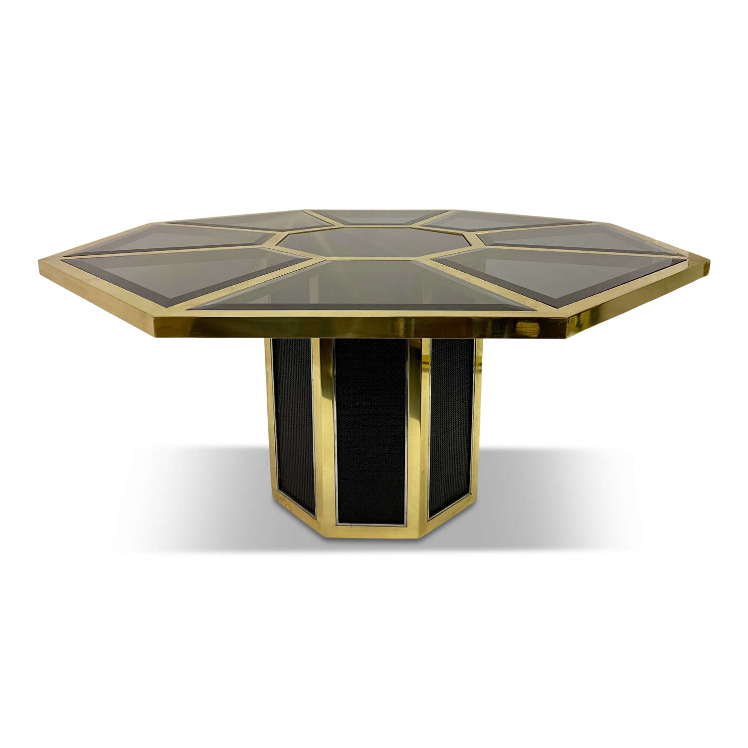 1970s Octagonal Brass and Rattan Dining Table By Romeo Rega for Sabot