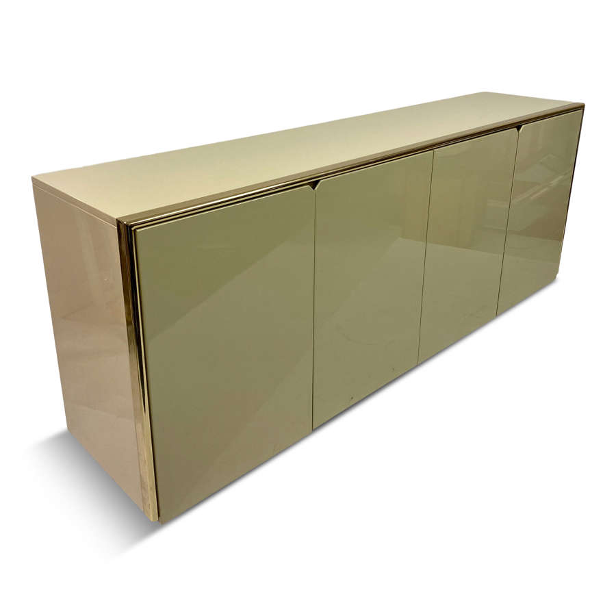 1970s Italian Lacquered and Brass Sideboard By Bruno Tonello