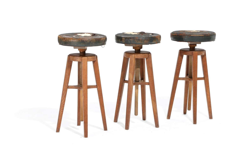 Set of Three 1940s Danish Oak Stools