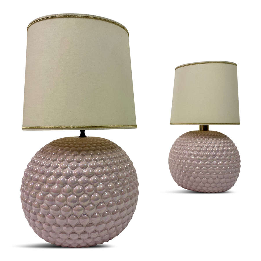 Pair of 1970s Pink Ceramic Bubble Lamps
