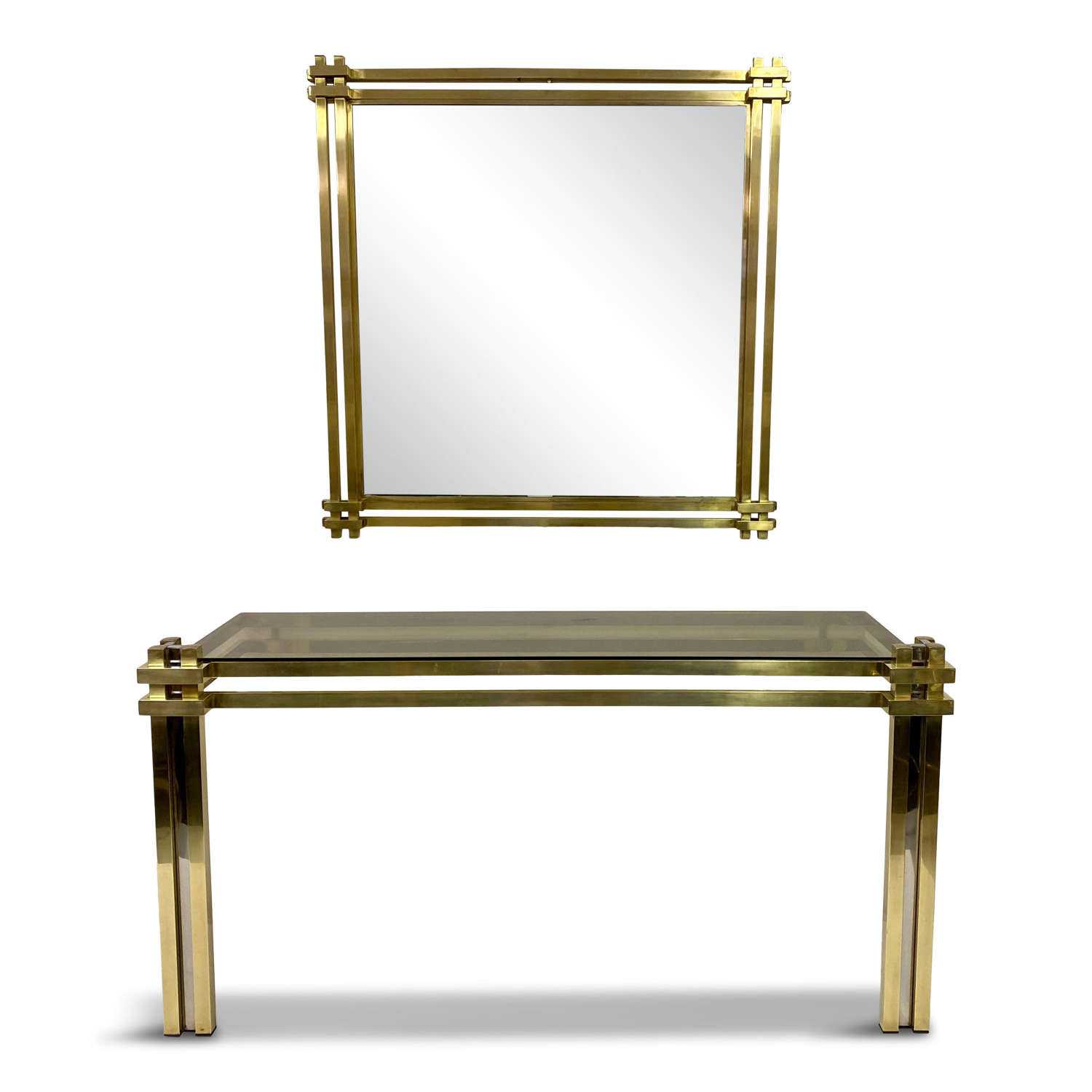 1970s Brass Console Table and Mirror by Romeo Rega
